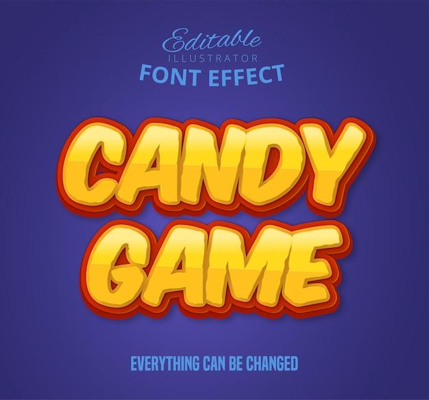 Texto de jogo de doces, efeito de fonte Vetor Premium