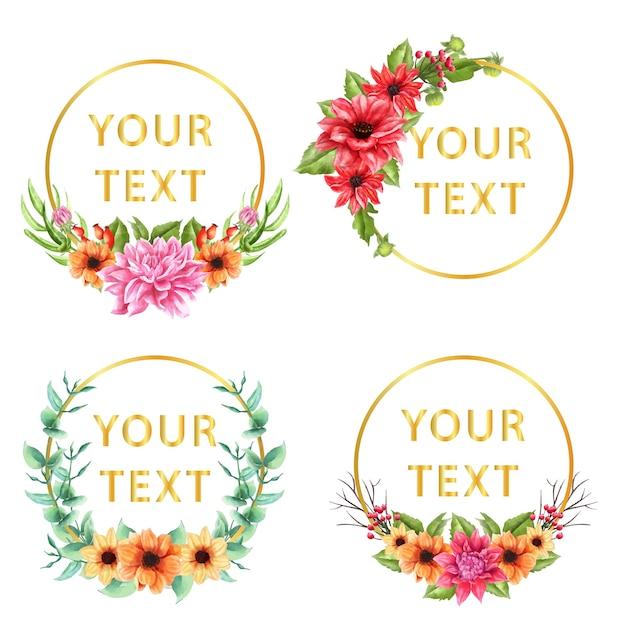 Texto de modelo com coroa de flores da dália floral. fundo Vetor Premium