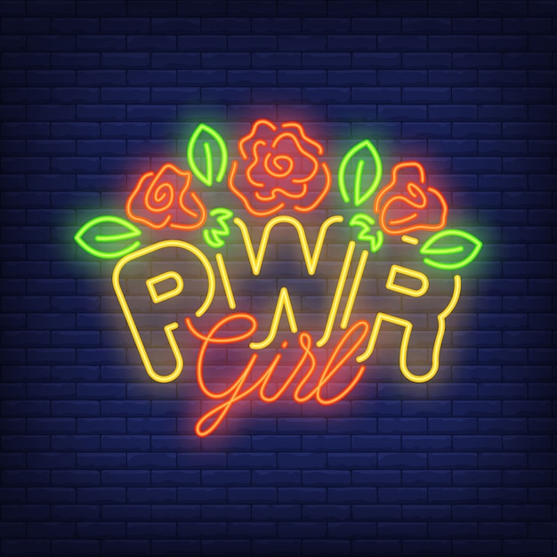 Texto de néon da menina de pwr com logotipo das flores. sinal de néon, anúncio brilhante da noite Vetor grátis