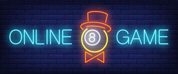 Texto de néon do jogo on-line com a bola no chapéu Vetor grátis
