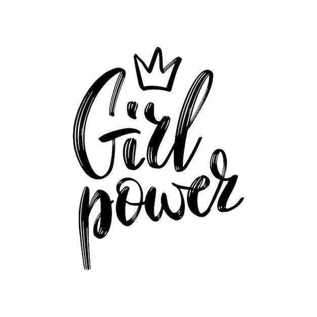Texto de poder feminino, slogan do feminismo Vetor Premium