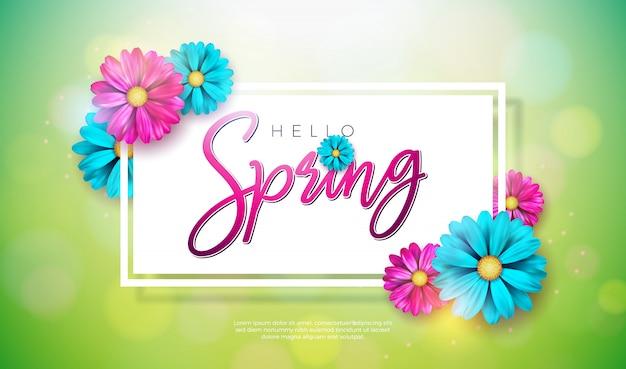 Texto de primavera. modelo de design floral com letra de tipografia Vetor grátis