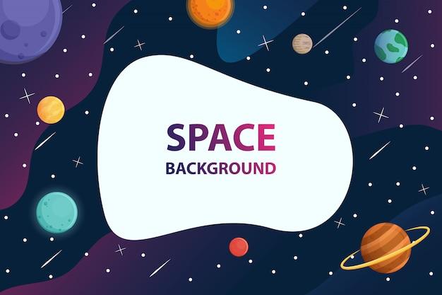 Texto de quadro branco com o planeta no fundo de galáxia de espaço Vetor Premium