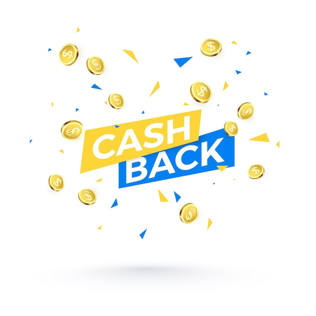 Texto de reembolso, confetes caindo e moedas de ouro Vetor Premium