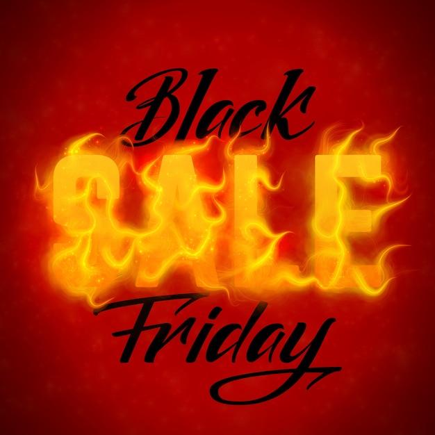 Texto de venda de sexta-feira negra de vetor com fundo de chamas de fogo laranja Vetor grátis