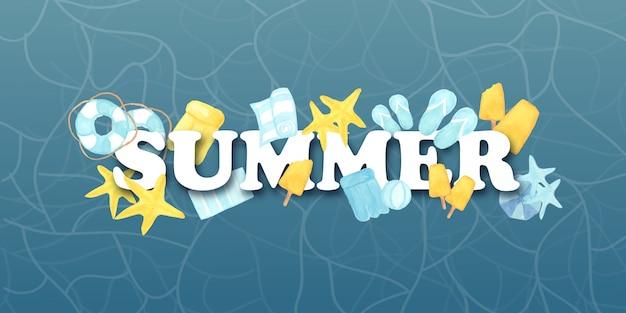 Texto de verão aquarela com elementos de praia Vetor Premium