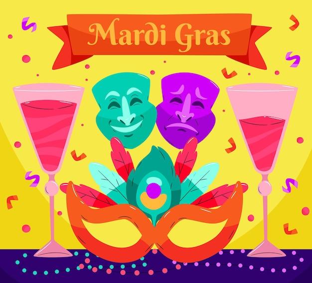 Texto desenhado à mão de carnaval com elementos ilustrados Vetor grátis