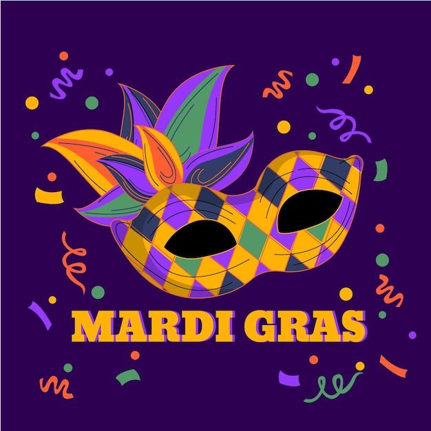 Texto desenhado à mão de carnaval com máscara ilustrada Vetor grátis