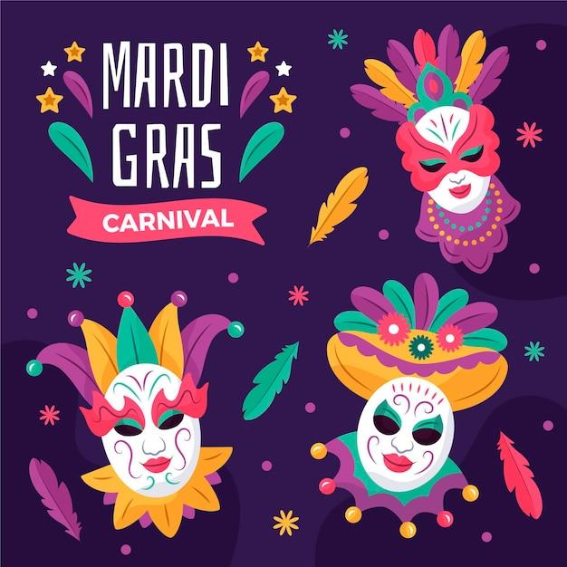 Texto desenhado de mardi gras com máscaras ilustradas Vetor grátis