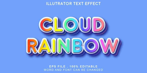 Texto do arco-íris da nuvem editável Vetor Premium