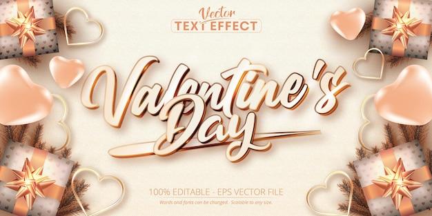 Texto do dia dos namorados, efeito de texto editável no estilo cor ouro rosa Vetor Premium