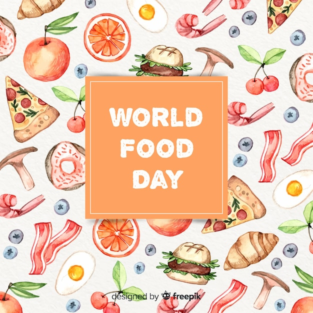 Texto do dia mundial da comida na caixa com alimentos Vetor grátis