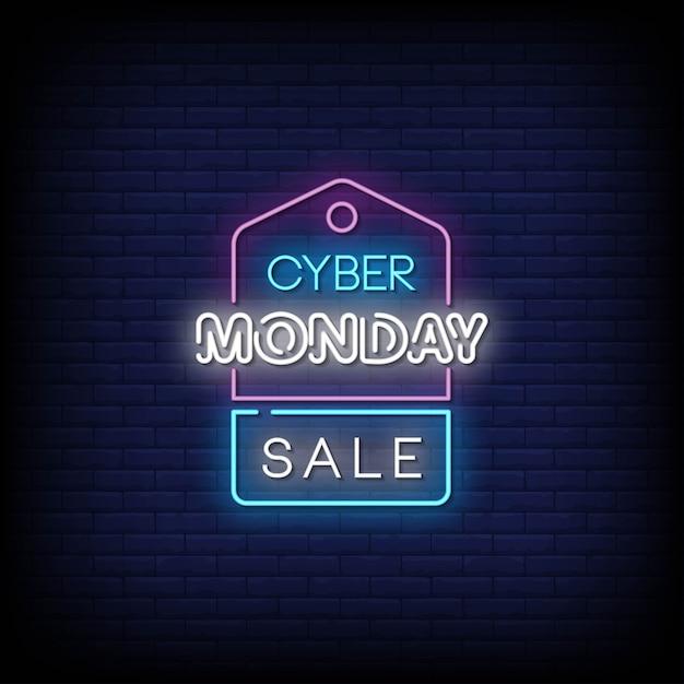 Texto do estilo dos sinais de néon da venda da cyber monday Vetor Premium