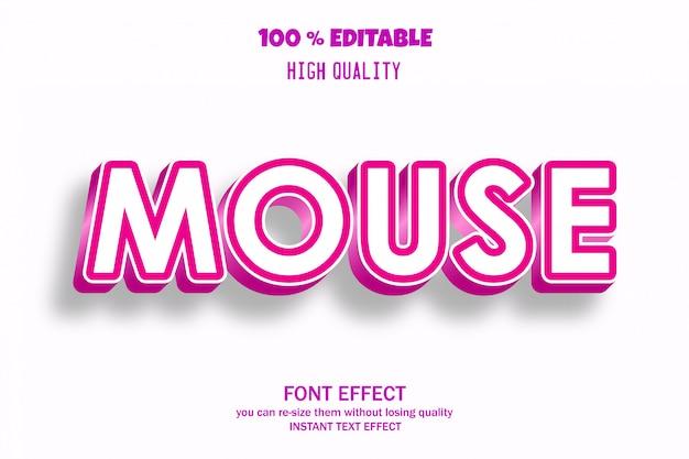 Texto do mouse, efeito de fonte editável Vetor Premium