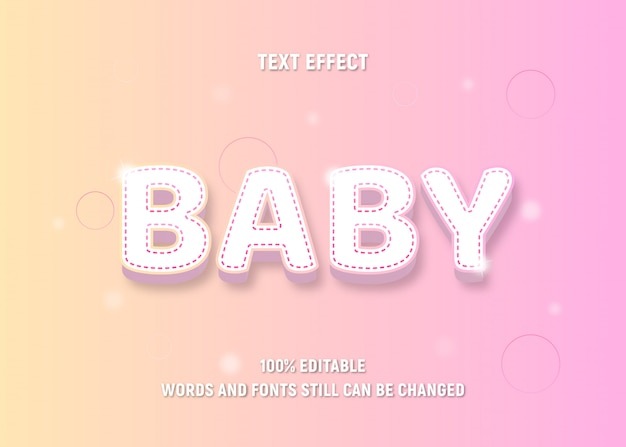 Texto editável colorido pastel sobre bebê Vetor Premium