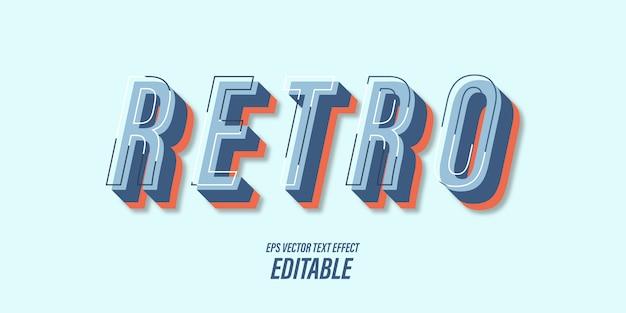 Texto editável com efeitos 3d com temas vintage e retrô Vetor Premium