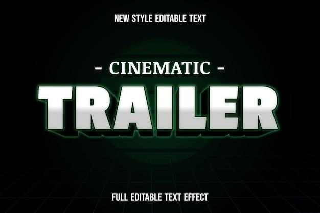 Texto editável efeito de texto cinematográfico cor do trailer branco, preto e verde Vetor Premium
