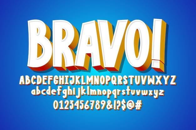 Texto em bravo, alfabeto 3d, efeito de fonte em quadrinhos Vetor Premium