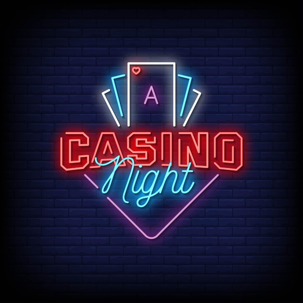 Texto em estilo de letreiros de néon noturno de cassino Vetor Premium