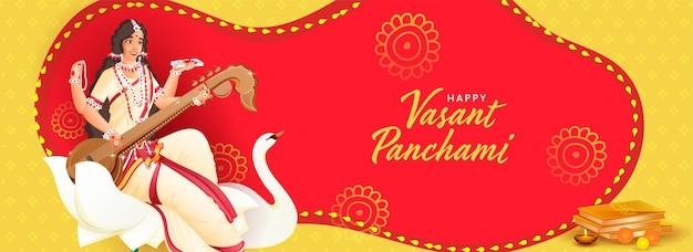 Texto em hindi os melhores votos de vasant panchami com a deusa saraswati, personagem em flor de lótus, pássaro cisne Vetor Premium