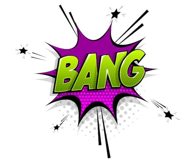 Texto em quadrinhos bang boom no estilo pop art do balão de fala Vetor Premium