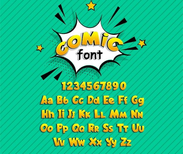 Texto em quadrinhos da fonte do super-herói da arte pop de quadrinhos amarelos. Vetor Premium