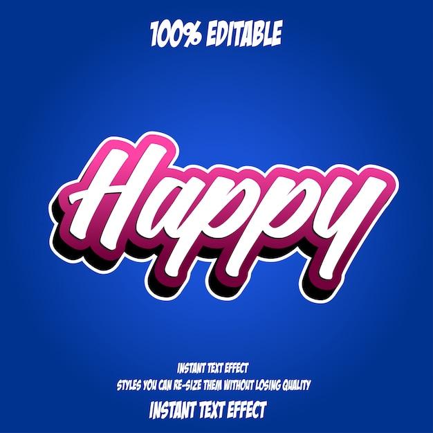 Texto feliz, efeito de fonte editável Vetor Premium