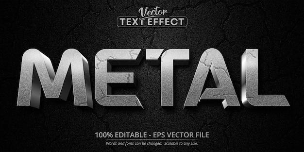 Texto metálico, efeito de texto editável de estilo prateado texturizado Vetor Premium