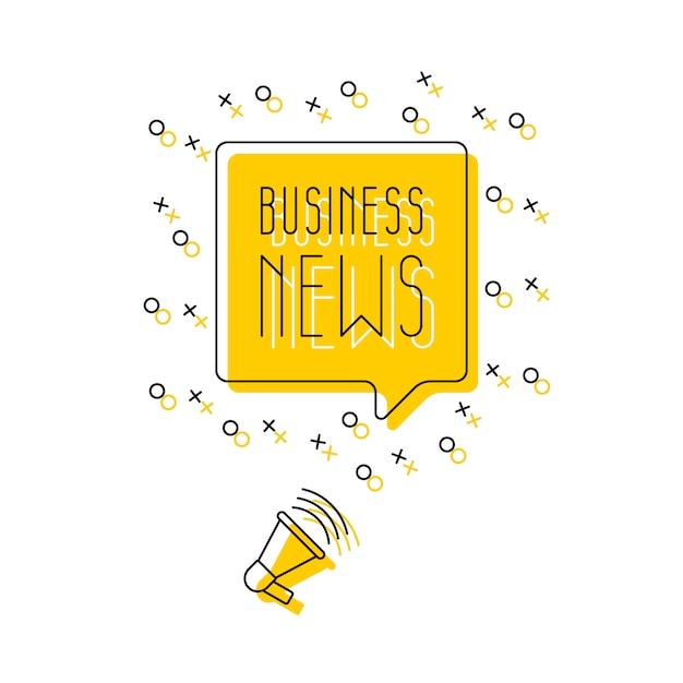 Texto 'notícias de negócios' no discurso bolha e alto-falante ilustração em vetor linha fina simples. banner moderno Vetor Premium