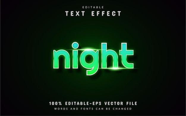 Texto noturno - efeito de texto estilo neon verde Vetor Premium