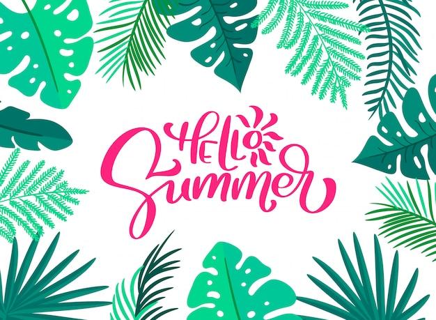 Texto olá verão no cartão de moldura de folhas florais Vetor Premium