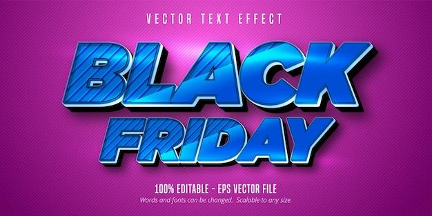 Texto preto sexta-feira, efeito de texto editável Vetor Premium