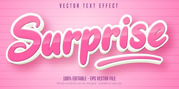 Texto surpresa, efeito de texto editável no estilo desenho animado Vetor Premium