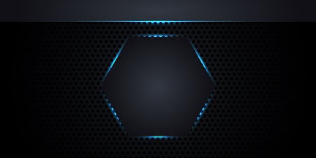 Textura de fibra de carbono com favo de mel. abstrato base metal escuro com um hexágono no centro com luzes de neon e linhas luminosas. Vetor Premium