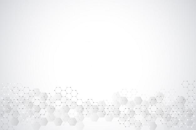 Textura de fundo geométrico com estruturas moleculares e engenharia química. abstrato de padrão de hexágonos. Vetor Premium