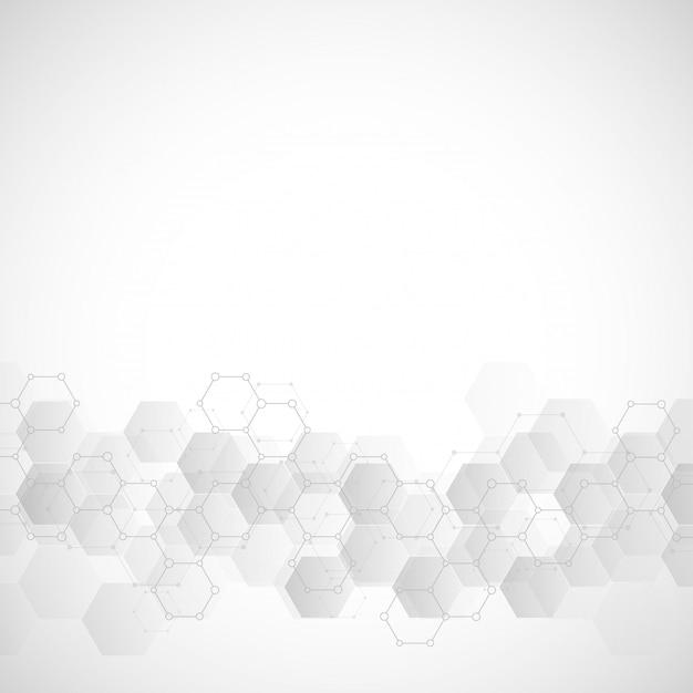 Textura de fundo geométrico com estruturas moleculares e engenharia química Vetor Premium