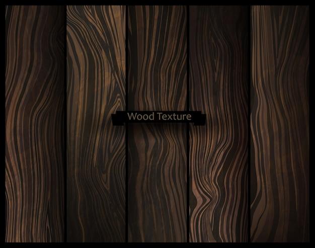 Textura de madeira de vetor. fundo de madeira escuro natural. Vetor Premium
