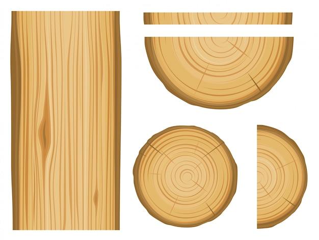 Textura de madeira e elementos isolados no fundo branco Vetor Premium