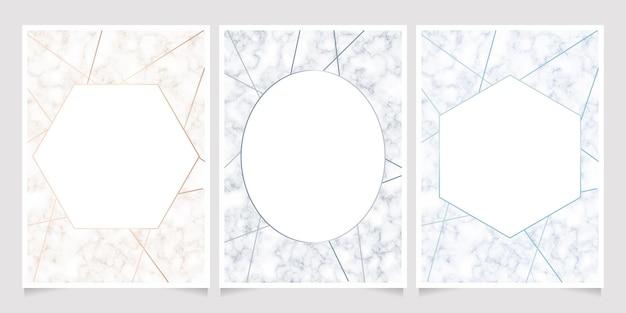 Textura de mármore com fundo de cartão de quadro de linha geométrica Vetor Premium