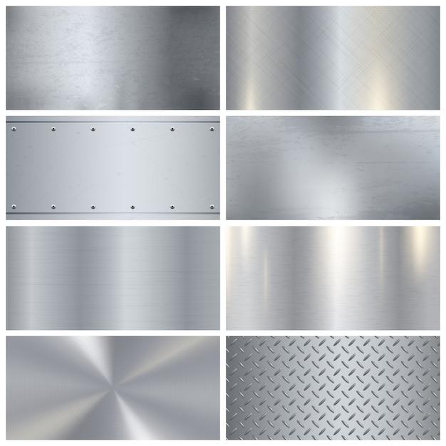 Textura de metal realista coleção de amostras 3d Vetor grátis