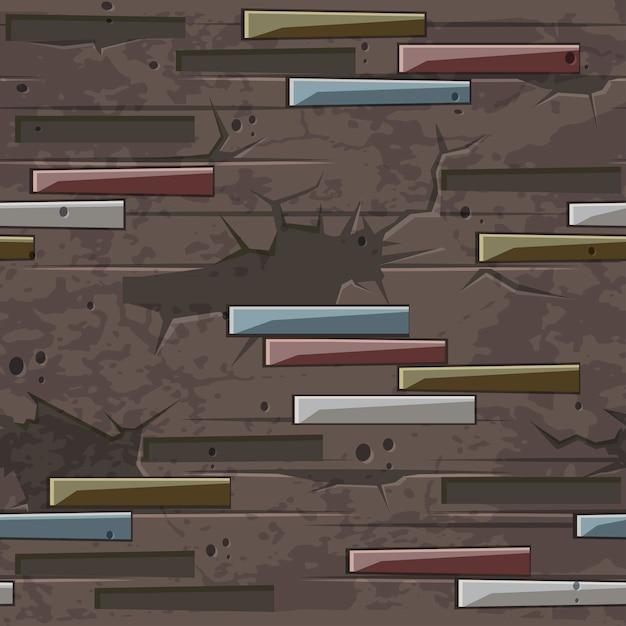 Textura de parede de tijolo velha perfeita. padrão sem emenda de pedras de tijolo. parede marrom com pedras Vetor Premium