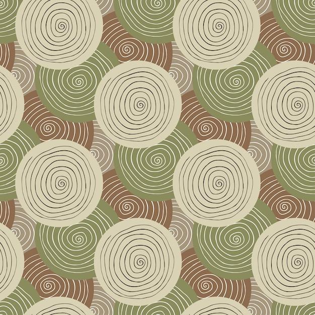 Textura de tecido khaki. padrão militar sem costura. design têxtil. fundo étnico com círculos Vetor Premium