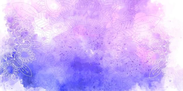 Textura decorativa aquarela e desenho de mandala Vetor grátis