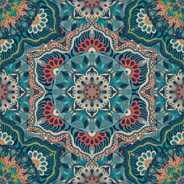 Textura floral floral ornamentada, padrão infinito com elementos de mandala vintage. Vetor Premium