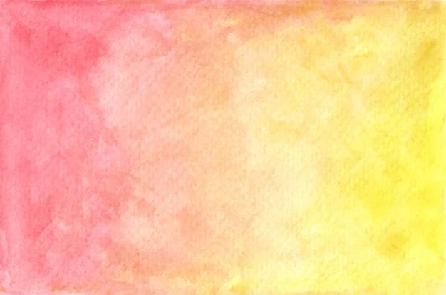 Textura pintada em aquarela pastel de vermelho e amarelo. fundo abstrato. Vetor Premium
