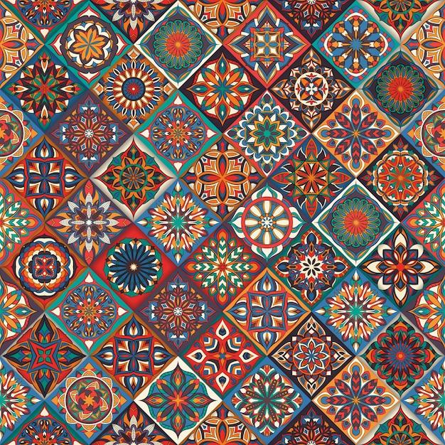 Textura sem costura floral ornamentada, infinita padrão com elementos de mandala vintage. Vetor Premium