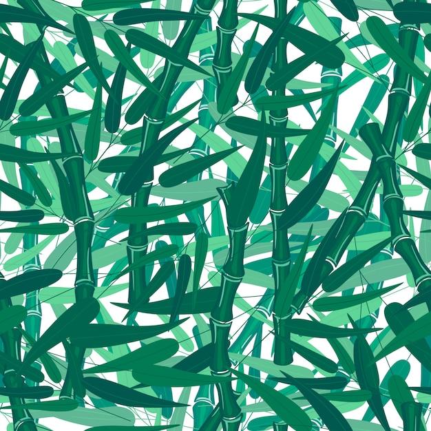 Textura sem emenda do teste padrão da floresta de bambu abstrata no fundo branco. Vetor Premium