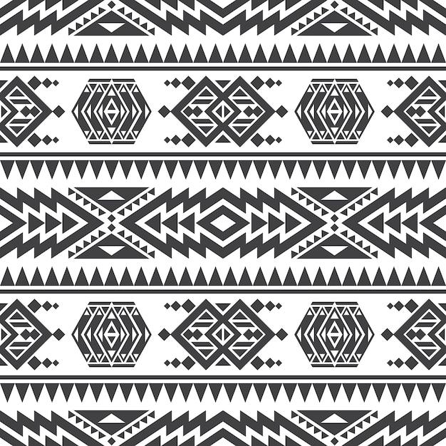 Textura sem emenda do vetor asteca americano. padrão repetitivo indiano tribal nativo Vetor Premium