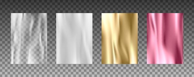 Texturas 3d realistas de folha de ouro, textura de seda, papel branco, filme plástico transparente. Vetor Premium
