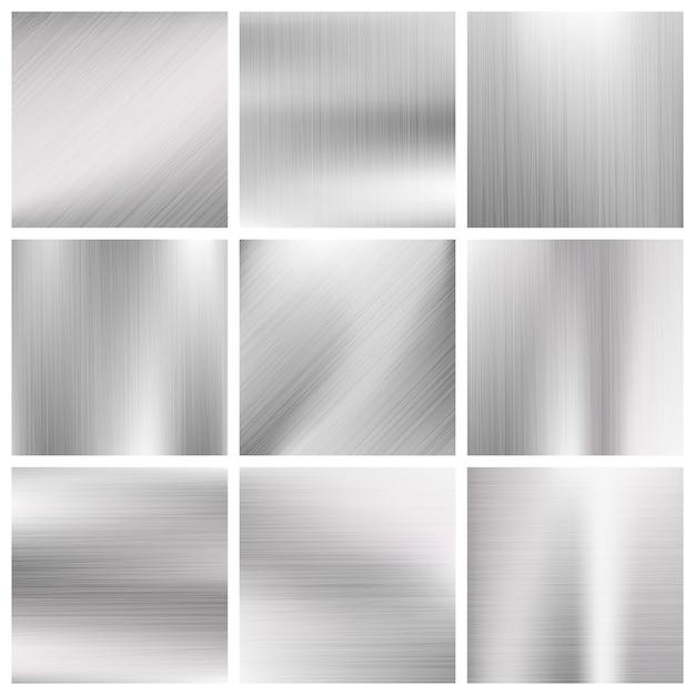Texturas de metal escovado de metal de alumínio Vetor Premium